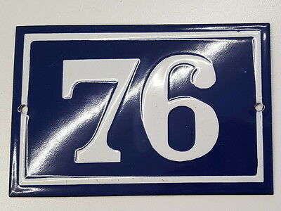ANTIQUE HOUSE NUMBER SIGN door gate FRENCH PLATE PLAQUE Enamel steel metal 76