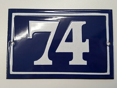 ANTIQUE HOUSE NUMBER SIGN door gate FRENCH PLATE PLAQUE Enamel steel metal 74