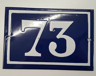 ANTIQUE HOUSE NUMBER SIGN door gate FRENCH PLATE PLAQUE Enamel steel metal 73
