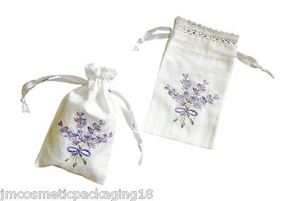 Lavender Bags Country-Style Hand Embroidered Pretty Cotton Wedding Favour Bags