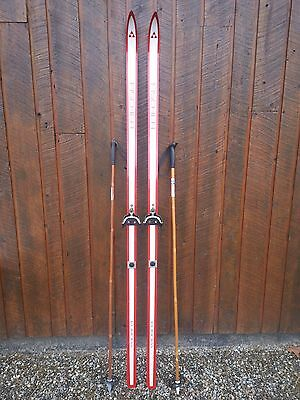 """OLD Interesting Vintage 77""""  Long Skis RED  + WHITE Finish Signed FISCHER"""
