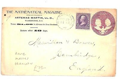 AR56 1897 USA POSTAL STATIONERY *Mathematical Magazine* to GB Cambridge Cover