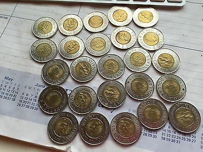 Lot of 25 Canadian Two Dollars (Toonies) 2000