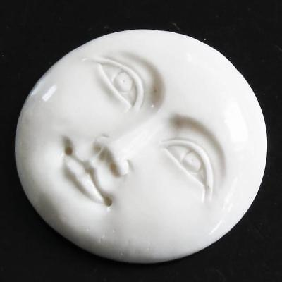 "1 5/16"" 33MM OPEN EYES MOON MOONFACE BISON BONE BEAD CAB cabochon"