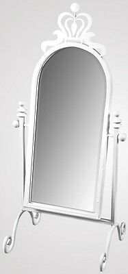 Beautiful Shabby Chic Vintage Sturdy Metal Crown Free Stand Tilt Mirror in White