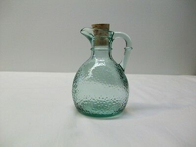 Vintage Green Glass Syrup Pitcher or Jug - Marked Canada on Bottom
