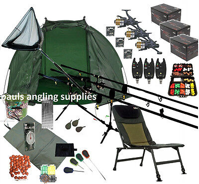 3 Shakespeare Rod  Carp Fishing Set Up Kit Reels Chair Alarms Bait Tackle Mat
