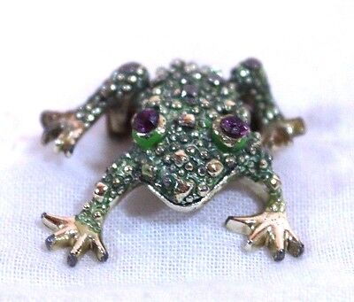 Frog Pin Brooch Green Gold Tone Purple Stone Eyes Appx 1.5""