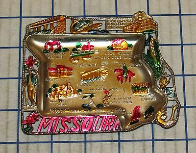 Vintage Missouri Souvenir Metal State Shaped Ashtray Made In JAPAN 1950s-60s VG