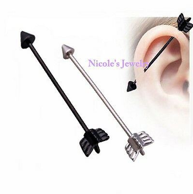 14G Arrow Industrial Barbell Bar Surgical Steel Ear Ring Body Piercing