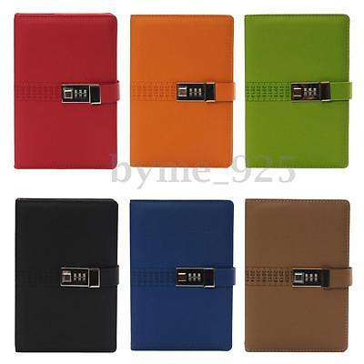 A5 Code Password Lock Leather Cover Blank Diary Book Secret Notebook Six Colour