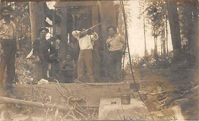 RPPC Loggers? Cowboys Man with Rifle Vintage Real Photo Postcard ca 1910s