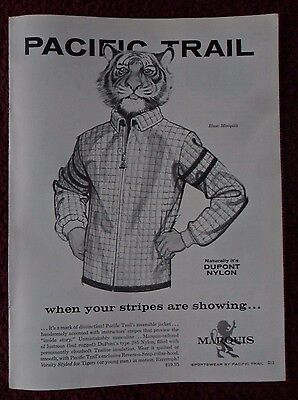 1963 Print Ad Pacific Trail Sportswear Fashions ~ Stripes Are Showing TIGER ART