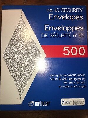 "500 no. 10 Security Letter Envelopes Top Flight White 4.1""x9.5"" Tinted Paper"