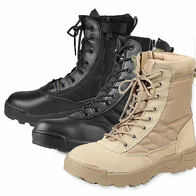 New Men Army Tactical Soft Leather Combat Military Ankle Boots Work Desert Shoes