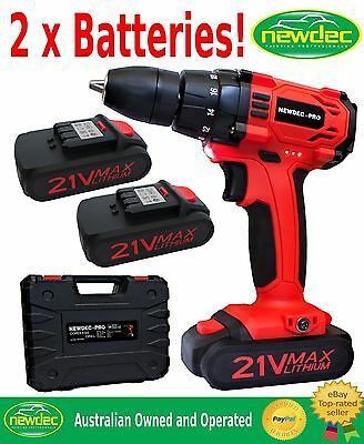 New Heavy Duty 21V Cordless Drill 2 Batteries Driver Screwdriver Kit Li-Ion