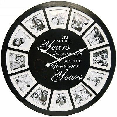 NEW Round 60cm Black Life's Picture / Photo Rounded Clock Fashion Wall Clock