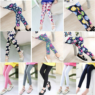 Girls Colorful Floral Legging Children Girl Kids Classic Leggings Pants Trousers