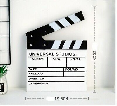 White Mediu Wooden Black Film Movie Cut/Action Director Board Slate Clapperboard