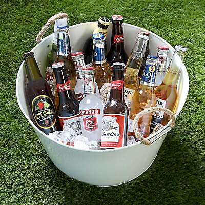 Party Tub with Rope Handles - White Galvanised Steel Drinks Pail Cooler for Beer