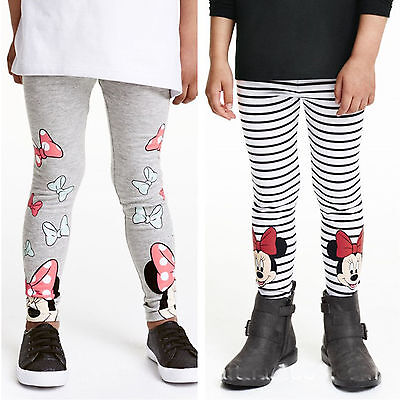 Kids Girl Cartoon Leggings Minnie Mouse Cotton Party Casual Pants Trousers 2-7 Y