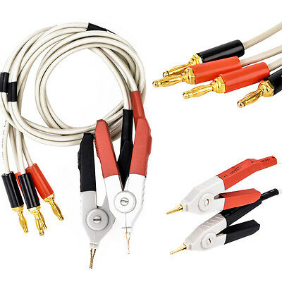 LCR Meter Low Resistance Leads Banana Plug Clip Cable for Terminal Kelvin Test