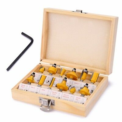 12pcs 1/4'' Shank Tungsten Carbide Tipped Router Bit Set Tool with Wooden Case