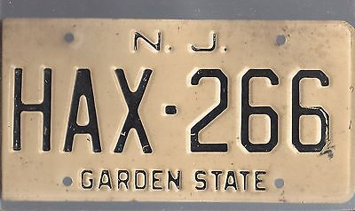 Vintage UNDATED NEW JERSEY CAR  license plate HAX-266