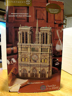 """Department 56 """" Notre Dame Cathedral Paris """" Churches Of The World Mib 57601"""