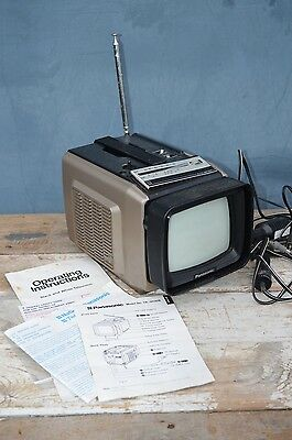 Vintage Panasonic TR-5030S Black and White Television TV AC/DC Portable Set Prop