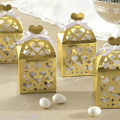 50 Elegant Gold Lantern Wedding Engagement Party Gift Favour Boxes