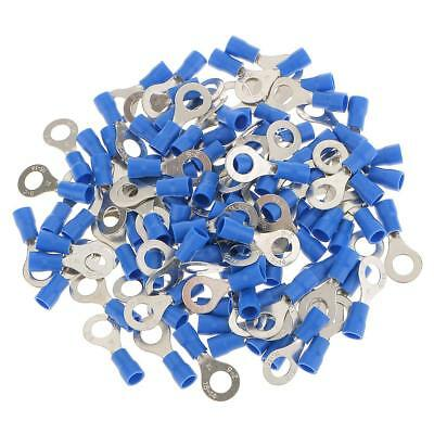 100pcs Blue Ring Connector Electrical Crimp Terminals for Cable Hole 6.4mm