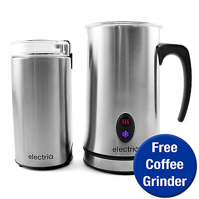 electriQ Silver Hot Cold Milk Frother Warmer Latte Foam Maker With Free Grinder