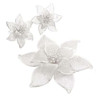 "2 1/2"" HANDMADE FILIGREE FLOWER 925 STERLING SILVER brooche & earring set"