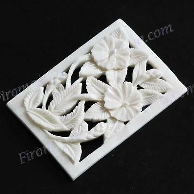 "1 15/16"" HANDCARVED FLOWERS BISON BONE FOCAL BEAD cabochon"