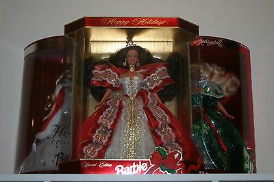 Lot of 3 Mattel Special Edition Happy Holiday Barbie Dolls 17832 50304 14123