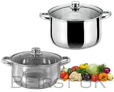Stainless Steel Induction Base Casserole Dish Stock Soup Stew Pot Glass Lid Pan