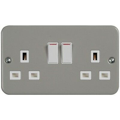 13A 2 Gang/Twin Switched Socket - Metal Clad With Back Box