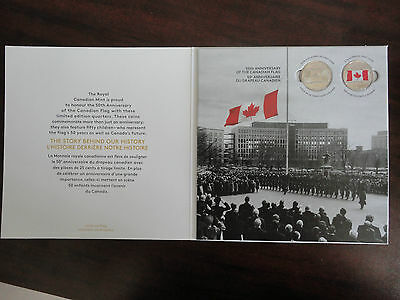 2015 Canada 50th Anniver. of Canadian Flag 25 cent, 2 Quarters + Collector Card