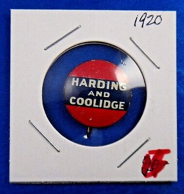 1920 Harding and Coolidge Presidential Political Campaign Pin Pinback Button