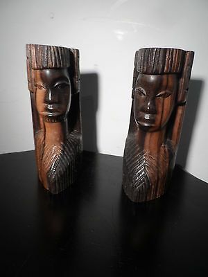 Ethnic Tribal Mask Book Ends Hard Wood of Unknown Origin Decorative Items 7""