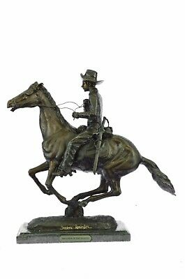 All bronze sculpture on marble base F. Remington Trooper  of the Plains #396