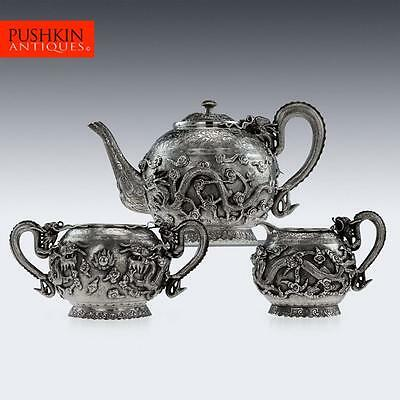 ANTIQUE 19thC CHINESE EXPORT TU MAO XING SOLID SILVER DRAGON TEA SET c.1890