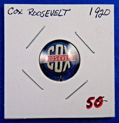 1920 Cox and Roosevelt Presidential Political Campaign Pin Pinback Button