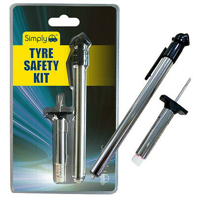 2pc Car Bike Wheel Tyre Safety Kit Tread Depth Air Pressure Gauge PSI Tester