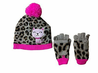 Jumping Beans Girls Large Animal Print Pink Trim Beanie & Mitten Set NEW