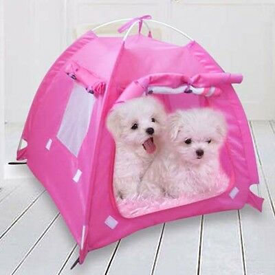 Pet Tent Foldable Portable Cat Dog Sturdy House Puppy Kennel Comfy Bed W/Cushion