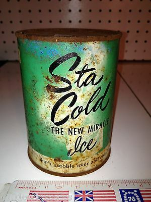 Antique Ice Pack, STA COLD Piqua,OH The New Miracle Ice - Large Full Round Can