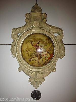 "~Antique Small 5"" x 8"" Plaster Framed Circular Picture-Victorian"
