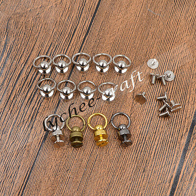 Retro Copper Nail Spiles with O Ring DIY Wallet Handbag Leather Craft Supplies